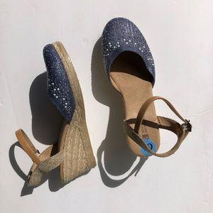 NEW Blue Espadrille Short Wedges Shoes 6.5